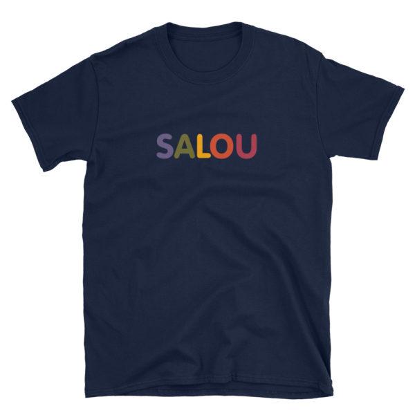 T-shirt SALOU multicolore - Tee shirt bleu marine Homme / Femme