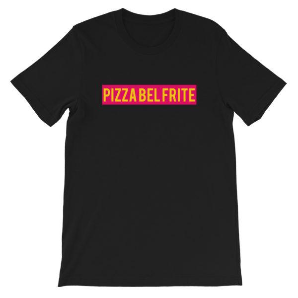 T-shirt noir PIZZA BEL FRITE - Tee-shirt homme / femme