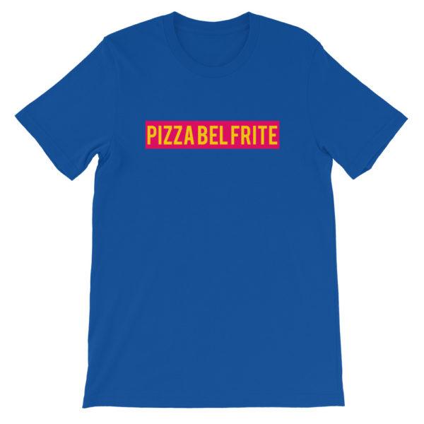 T-shirt bleu PIZZA BEL FRITE - Tee-shirt homme / femme