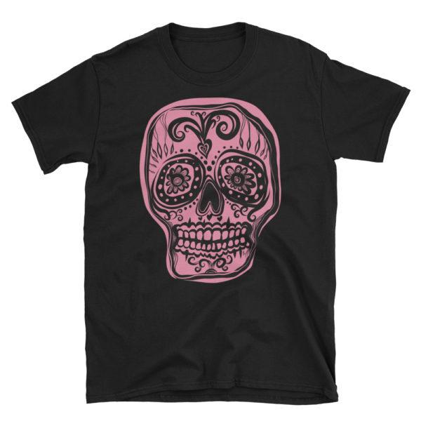T-shirt femme Tête de mort rose sur tee-shirt noir