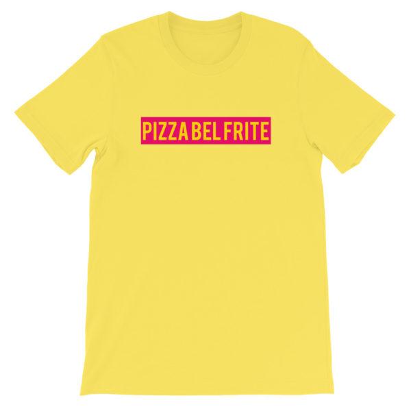 T-shirt jaune PIZZA BEL FRITE - Tee-shirt homme / femme