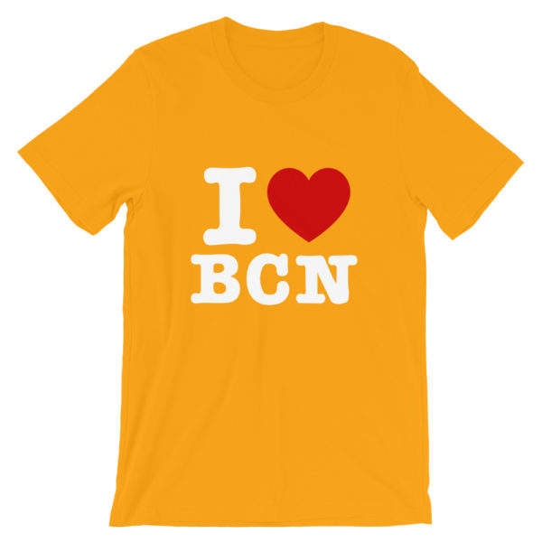 T-shirt I LOVE BCN jaune