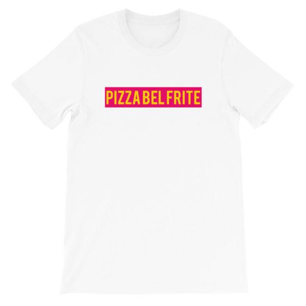 T-shirt blanc PIZZA BEL FRITE - Tee-shirt homme / femme
