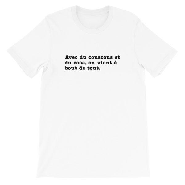 T-shirt Avec du couscous et du coca, on vient à bout de tout - Couleur blanc