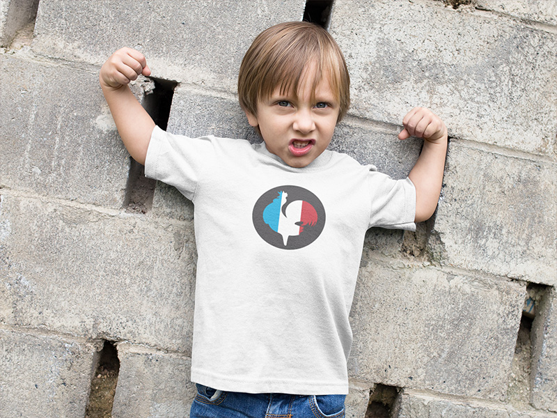 Tee-shirt enfant coq de France bleu blanc rouge