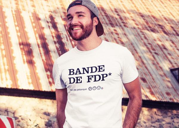 T-shirt BANDE DE FDP pour homme (Fan de pétanque)