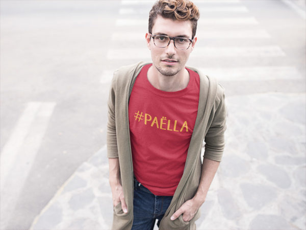 T-shirt rouge homme hashtag PAËLLA
