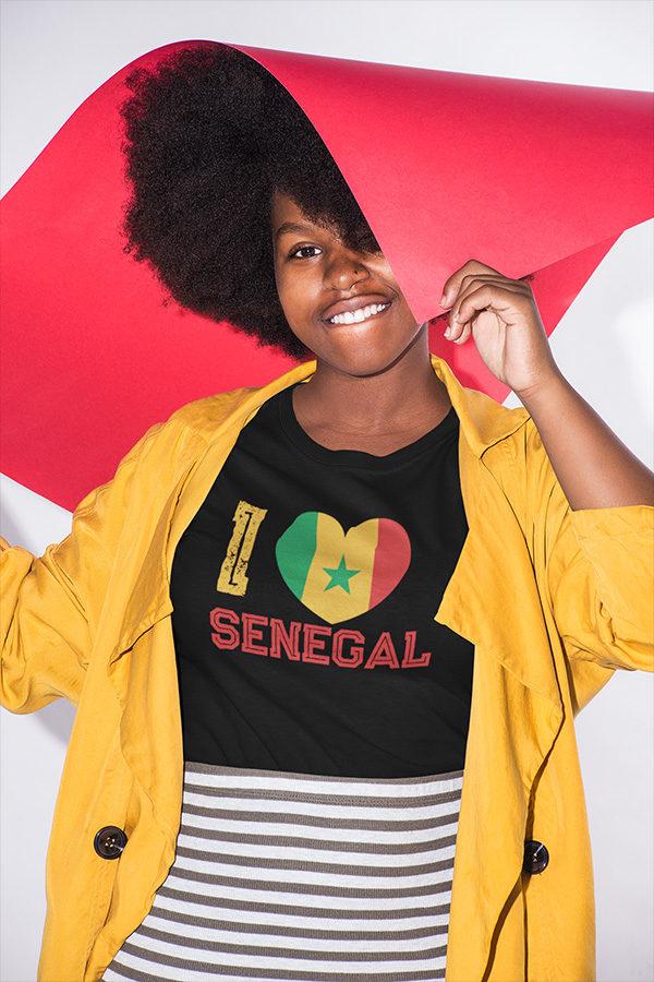 T-shirt I LOVE SENEGAL noir pour femme / homme