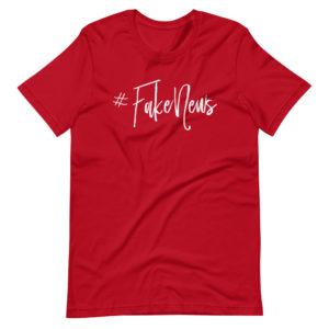 T-shirt hashtag #FAKENEWS, couleur rouge, pour homme et femme. C'est un beau t-shirt tendance, doux, léger et étirable. Le t-shirt comme l'imprimé sont de qualité supérieure